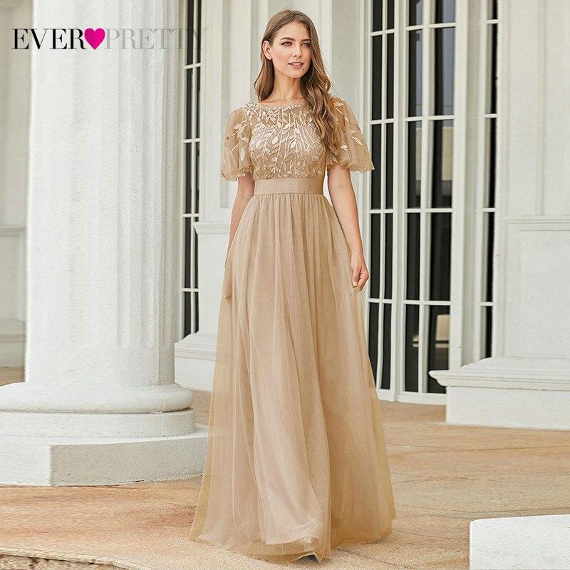 Robe De soirée étincelle robes De soirée longue jamais jolie EP00904GY a-ligne o-cou à manches courtes robes formelles femmes robes élégantes - 5