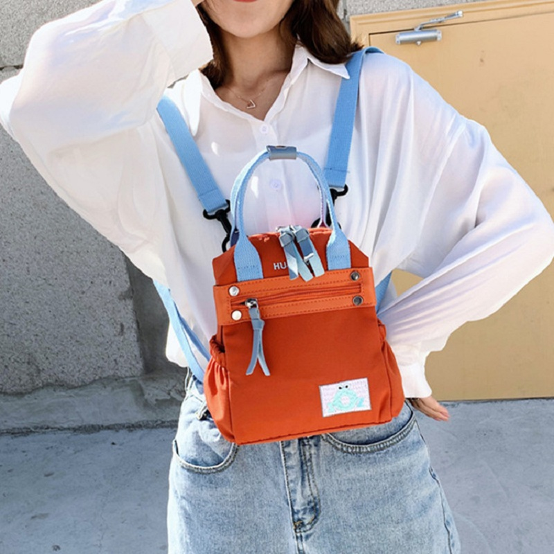 Korean Style Canvas Mini Backpack For Women Simple Fashion Travel Backpack Leisure School Bag Tote For Tennage Girl Bow Bag