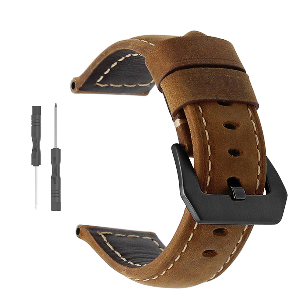 20 22 26mm leather strap for Garmin Fenix 5 5x 5s plus smart watch accessories bracelet band for Garmin Forerunner 935 945 belt image
