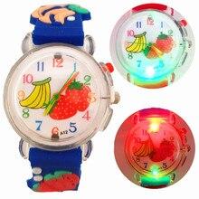 Fashion LED Flash Light Watermelon Fruit Kids Watches Children Student Casual Sports