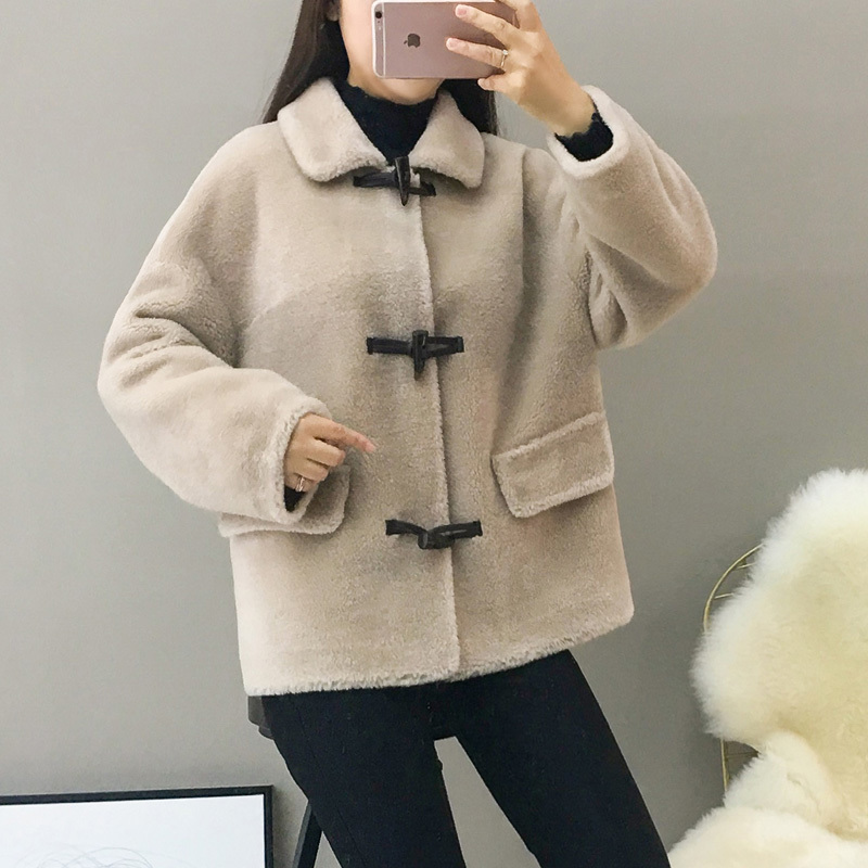 Coat Fur Real Female Sheep Shearling Jacket Winter Coat Women 100% Wool Coat Women Korean Outwear Manteau Femme MY4426