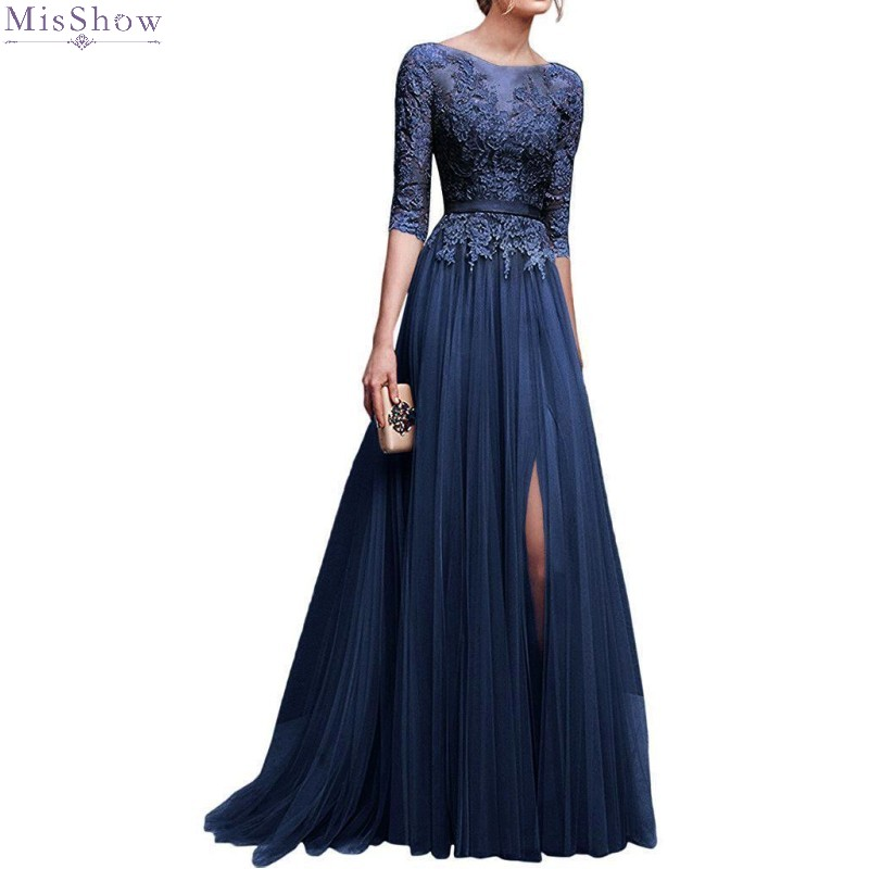 Tulle Lace Long Evening Dress 2020 Elegant  Pink Prom Formal Party Gown Sexy High Slit Applique Half Sleeve robe de soiree