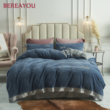 4pcs Luxury Bedding Sets Velvet Blue Pink Solid Duvet Cover set Comforter Bedding Queen King Size Bed Sheet Korean parure de lit