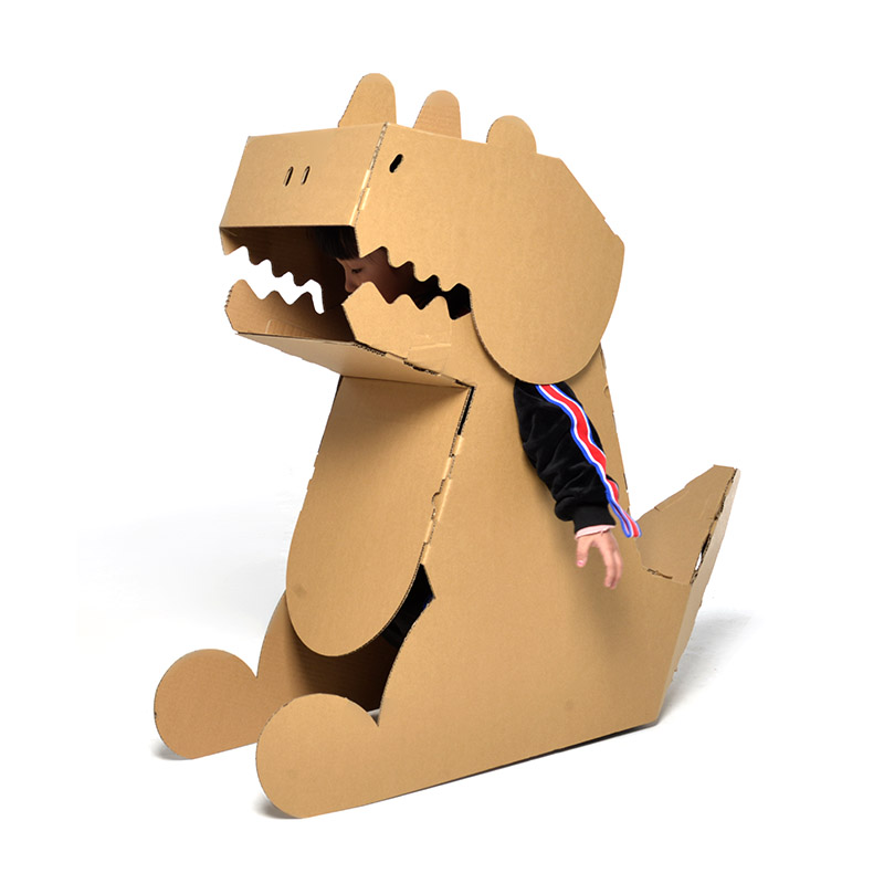 Children's DIY Cardboard Dinosaur Model Wearable Handmade Plate-making Assembly Material Model Toy