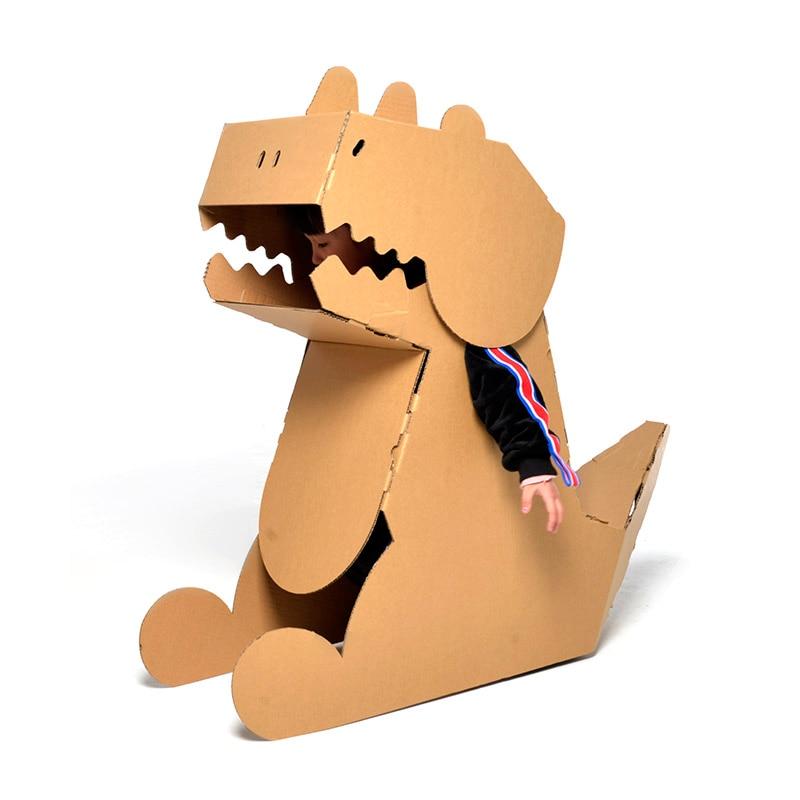 Children's DIY Cardboard Dinosaur Model Wearable Handmade Plate-making Assembly Material Model Toy