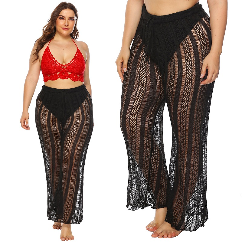 2020 New Crochet Plus Size Beach Pants Cover Up Sexy Women See Through Bikini Swimwear Swimsuit Bathing Suit Cover Ups Beachwear