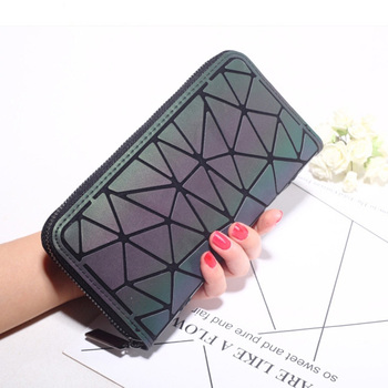 DIOMO Female Wallet Zipper Slim Thin Women Purses Long Clutch Wallets Geometric Luminous Money Bag