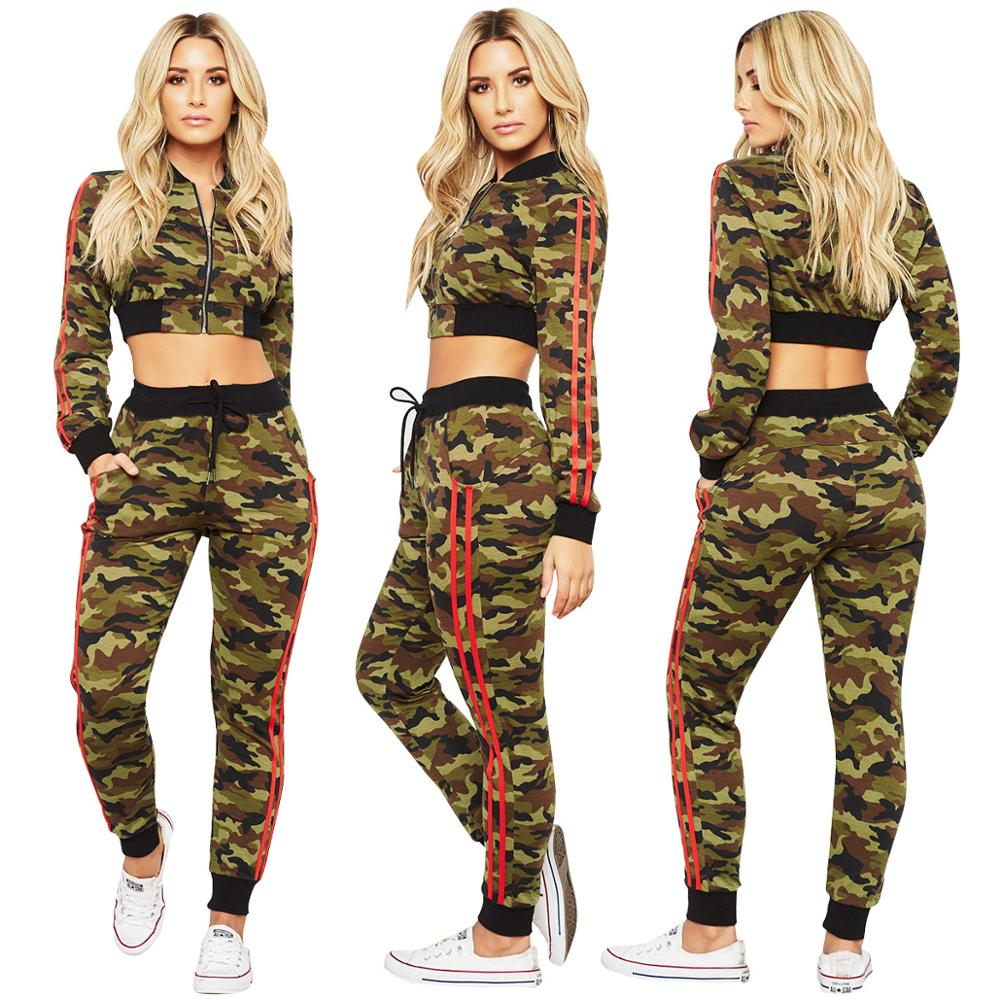 Woman Camouflage Sportswear Crop Sweatshirt Tops + Pants Sweatpants Two Piece Set Jogging Sport Suit Leisure Tracksuit Sweatsuit