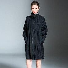Korean Edition Easy Big code Womens clothing Loose coat Autumn and winter New pattern fold Medium length Windbreaker Cardigan