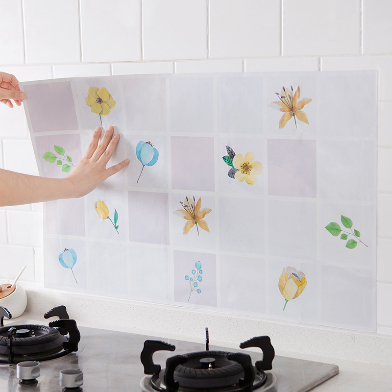 Pastoral Legume Flower Kitchen Oil Resistant Adhesive Paper High-temperature Resistant Tile Wall Stickers Stove Oil Separation W