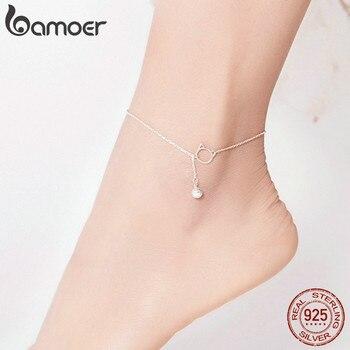 Bamoer pé jóias tornozeleira simples sino e gato pulseira para tornozelo real sólido 925 prata esterlina tornozeleiras para mulher sct003