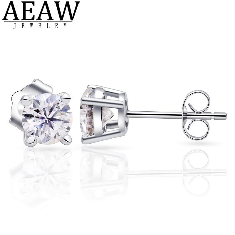 D Color VVS1Moissanite Earrings 2ctw 1.0ct 6.5mm Stud Earrings 18K Real White Gold Classic Lab Diamond 4 Prong Earring For Women