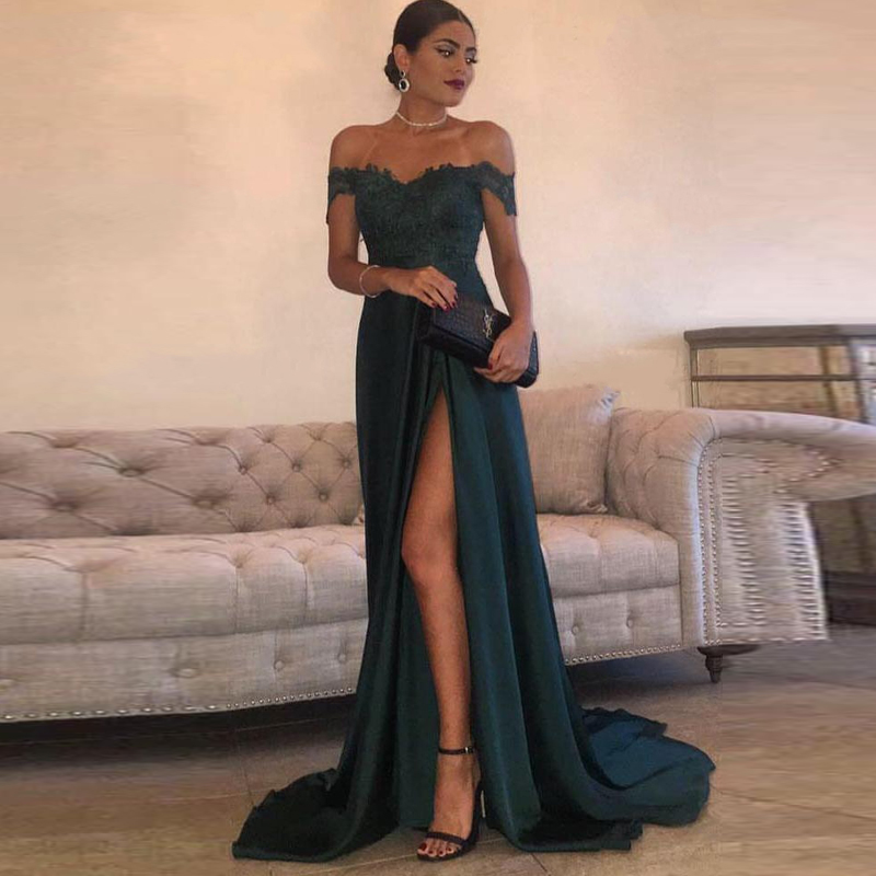 Sexy Bright Chiffon Evening Dresses Long A-Line Boat Neck Applique Split Formal Evening Gowns Robe De Soiree 2020