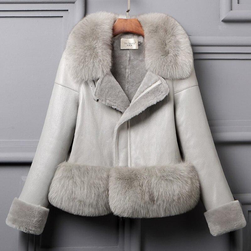 Luxury Woman Genuine Natural Sheepskin Shearing Leather Coat With Large Fox Fur Collar Ladies Short Wool Jacket Black Customized