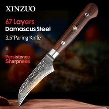 XINZUO cuchillo de fruta de 3,5 pulgadas, accesorios de cocina de acero inoxidable, rebanador de verduras, cuchillos de pelar, hoja de Damasco, mango de madera de rosa