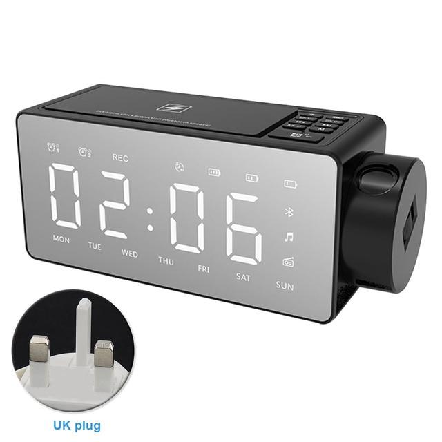 Bedroom Wireless Charging Alarm Clock Led Display Desktop Decoration Smart Fm Radios Projection Multifunction Bluetooth Speaker Aliexpress