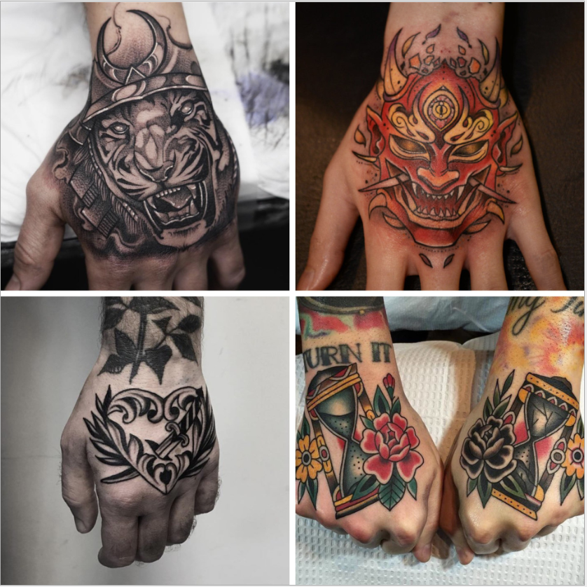 Men Tattoo Small Magic Vampire Tattoo Hand Rose Tattoo Face Mouth Waterproof Temporary Tatoo For Boys Body Art Stickers Black