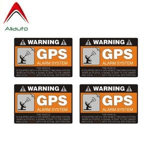 Aliauto Warning Car Sticker 4 X GPS Alarm System Decal Decal Accessories PVC for Skoda Volvo Honda Civic Mitsubishi Lada,8cm*6cm