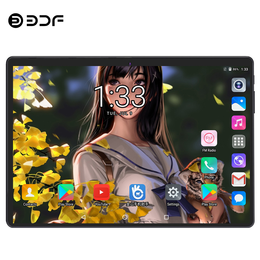 BDF 10 Inch Android 9.0 Tablet Pc 10/Deca Core 1280*800 IPS 8GB/128GB 3G/4G LTE Phone Table Dual SIM Card 5.0MP Pc Tablets 10.1