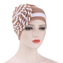 Chemo Cap Head-Scarf Hijab Braided Elastic Turban Stretch Islamic Muslim Indian-Hat Cotton