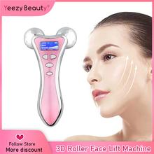 Urządzenie do liftingu mikroprądem 3D wałek do masażu twarzy wibracje narzędzia do twarzy V lifting twarzy masaż twarzy Lifting twarzy tanie tanio YEEZY BEAUTY Akumulator Maszyna wykonana face massage 110 v 240 v 100 v 220 v 110 v (不含)-220 v (不含) 16*9cm(Length*Width)
