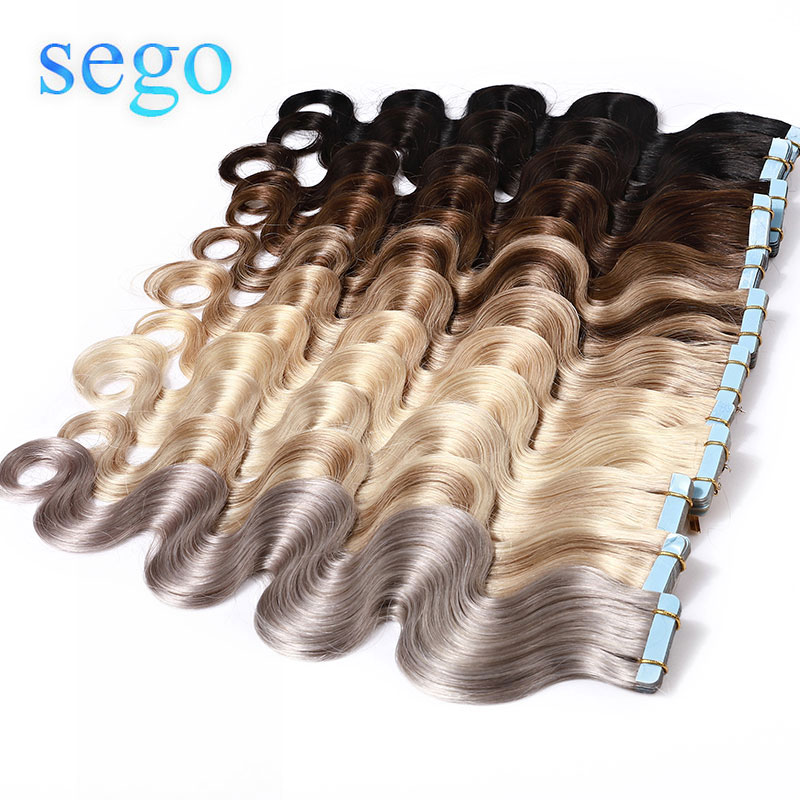Sego 2.5g/pc 20pcs/40pcs  Body Wave Tape In Human Hair Extension 100% Real Remy Natural Blonde Hair Extensions 14-24 Inch