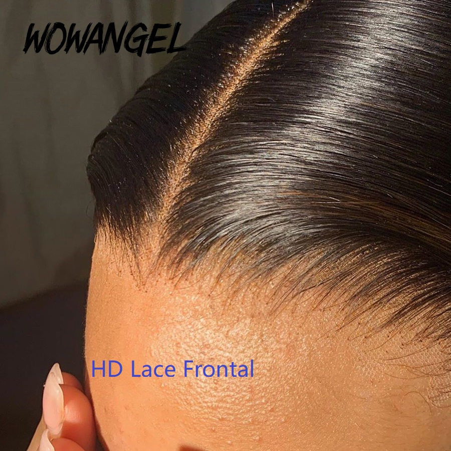 WOWANGEL Straight 13*4 HD Lace Frontal Closure With Baby Hair Remy Hair 4 By 4 Transparent HD  Lace Closure