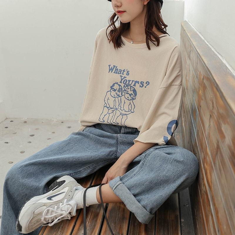 Denim Pants Chic High Waist Women Retro Harajuku Wide Leg Zipper Fly Akle-Length Jeans Pants Push Up Flare Trousers Streetwear