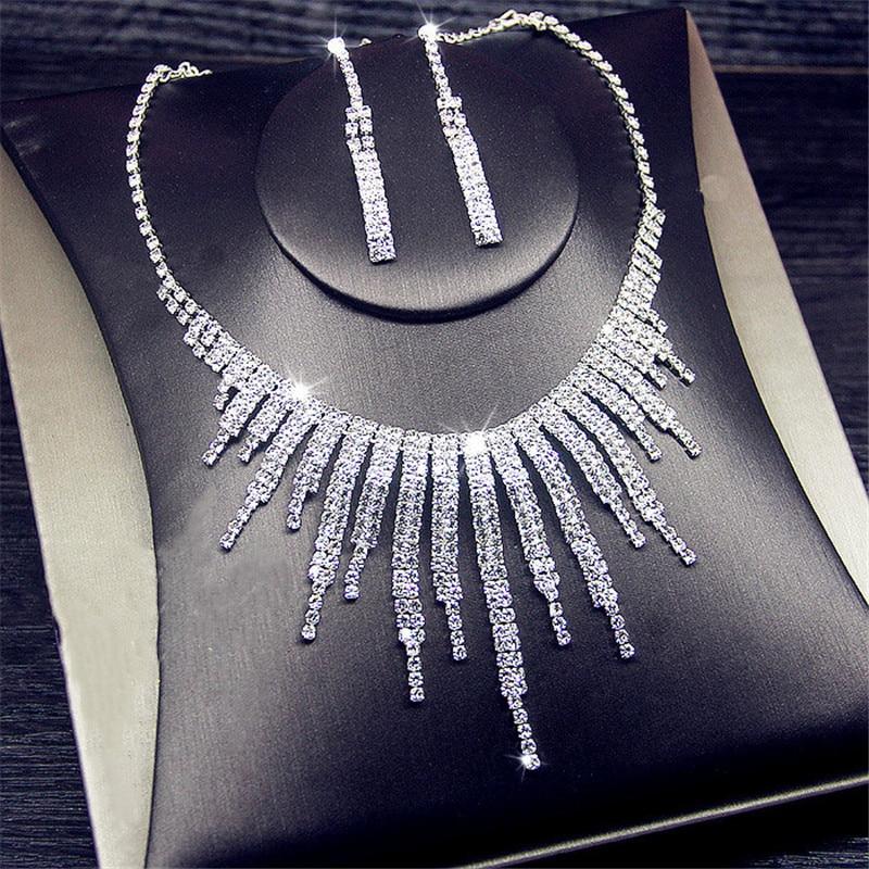 FYUAN Shine Geometric Rhinestone Necklace Earrings For Women Long Tassel Jewelry Sets Weddings Banquet Gifts