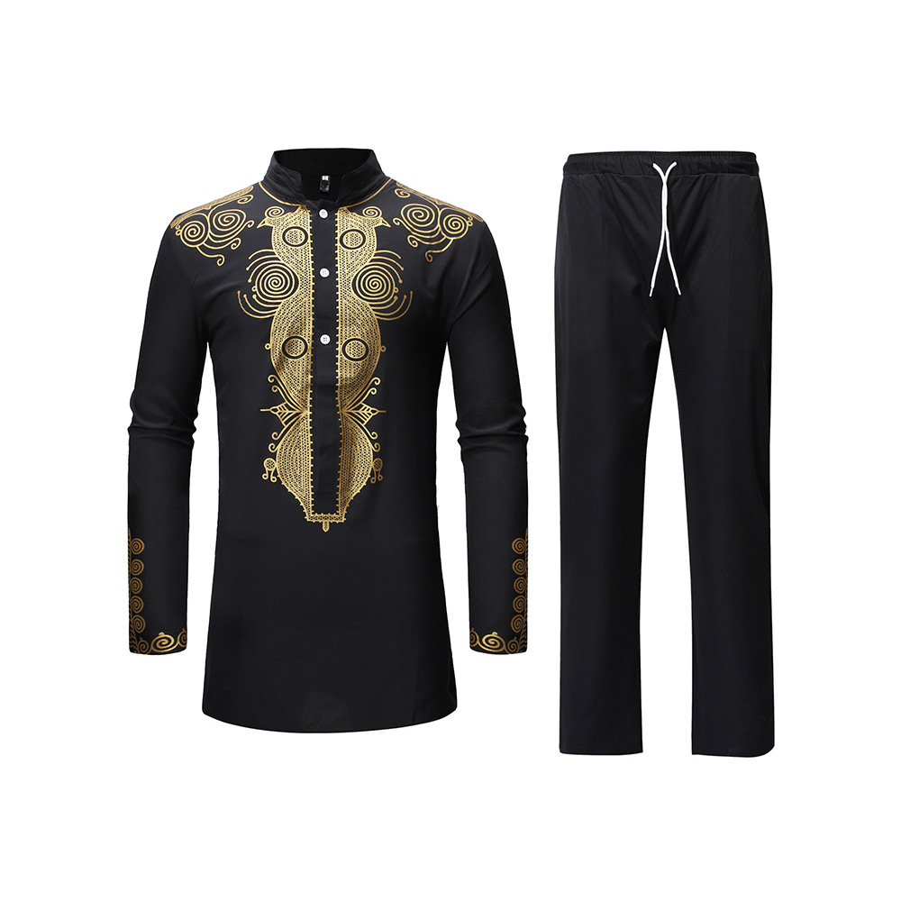 Casual Men African Clothes Tops And Pants Print Long Shirt With Trousers Two Piece Set For Men Dashiki Riche Bazin Oufits Africa