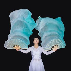 Image 2 - New Arrivals Women Belly Dance Fan Veil Hand Made White Navy Blue Gradient Silk Veil Pairs 180x90cm Girls Women Stage Show Props