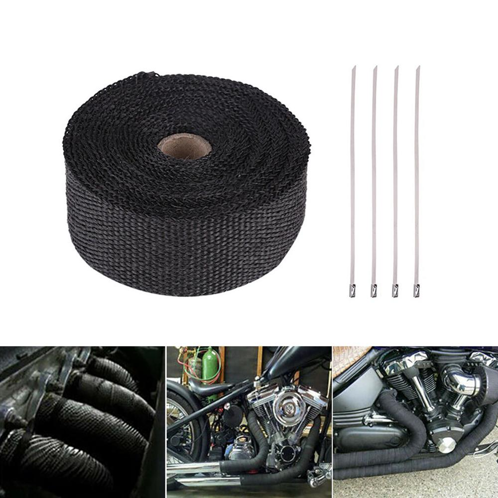 5x Stainless Steel Clips Motorcycle Car 5M HEAVY DUTY Exhaust Heat Wrap