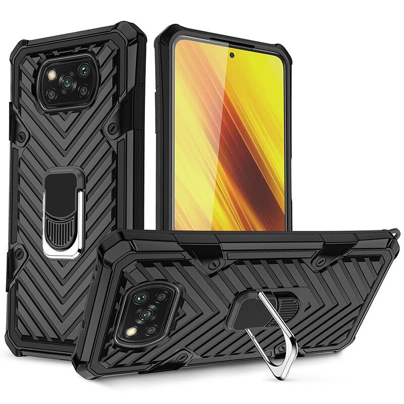 Funda para Xiaomi Poco M3 X3, funda con soporte magnético para coche, anillo giratorio de 360 grados, funda armadura enchapada NFC