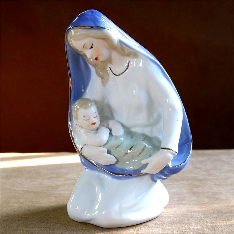 Porcelain Virgin Mary Statue Ceramic Jesus Sculpture