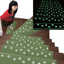 13 Pcs Luminous Self adhesive Anti Slip Staircase Treads Rug Carpet Cover Mats Bear Claw Pattern Floor For Stair Step Protection