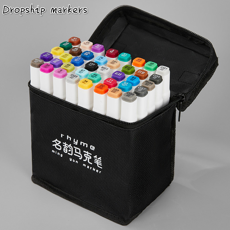 12/24/36/48/60 cores ponta dupla arte marcador canetas forro fino marcadores pintura em aquarela desenho pincel caneta material escolar manga
