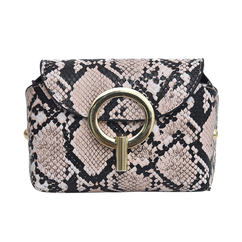 Fashion Snake Pattern Leather Belt Bags Phone Pouch Women Pu Leather Waist Bags Pink