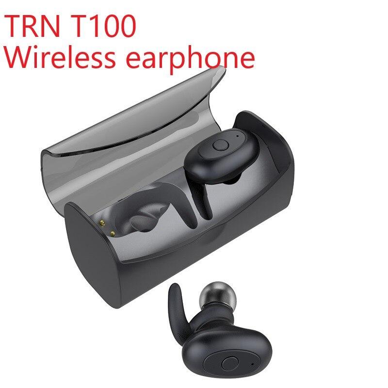 High Quality New TRN T100 Wireless Bluetooth 5.0 Mini Charging Cabin Ear HIFI Sport Earphone Headphone V80/V30/IM1/IM2/X6
