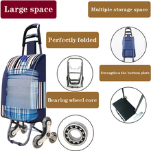 Middle-aged and elderly trolley female shopping cart climbing stairs shopping basket wheeled trailer portable folding trolley