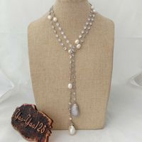 49 White Keshi Pearl Cz Pave Chain Long Necklace