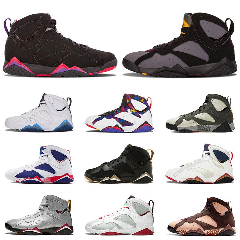 New Jumpman Men Basketball Shoes 7 Retro Raptro Ray Blue White Balck Trainers Sneakers Sports Outdor size 7-12