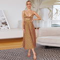 Прямая поставка, новинка 2021, стильное платье с разрезом, с высокой талией и принтом, с открытой спиной, с завязкой спереди, сарафаны с узлом, с...