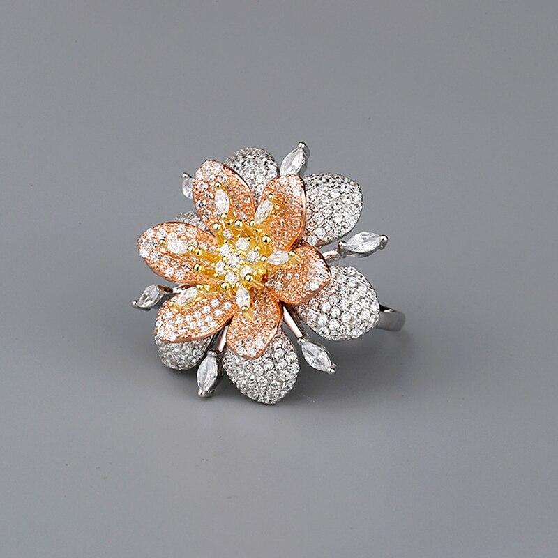 BALMORA réel 925 pur argent anneaux pour femmes fille exagéré cristal fleur bague bijoux Anillos cadeaux de noël pour elle - 5