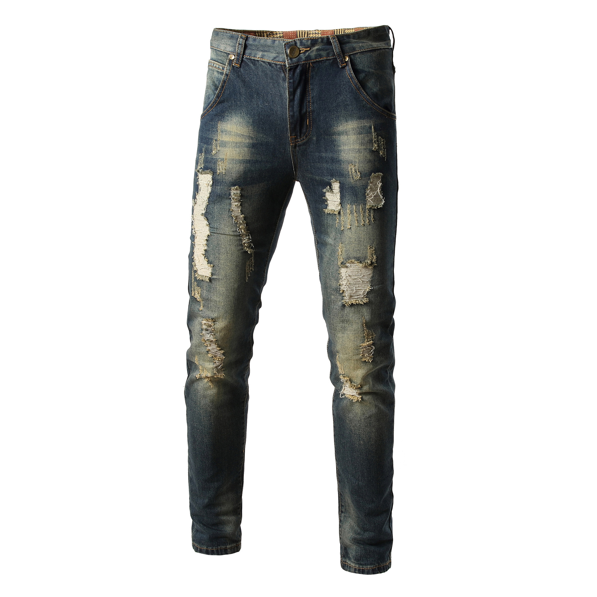 MEN'S WEAR With Holes Nostalgic Jeans Straight Slim Men Cowboy With Holes Trousers Men's