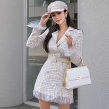 New Autumn Winter Women Tweed Bodycon Dress Fashion Double-breasted Patchwork Me