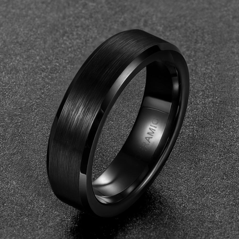 Eamti 4/6/8mm Black Ceramic Ring Men Brushed Comfort Fit Couple Wedding Band Engagement Rings For Men Women Size 4-15 Anel 3