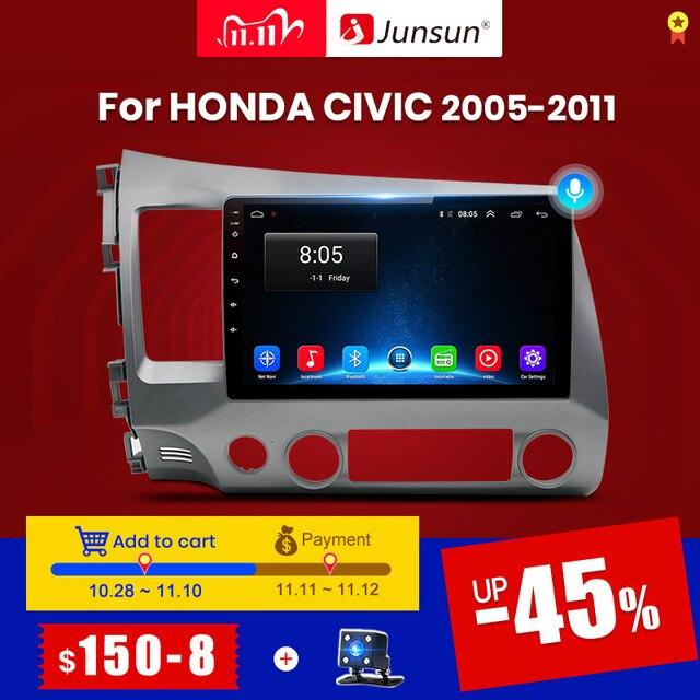 Junsun V1 2G+32G Android 10.0 DSP Car Radio Multimedia Video Player For Honda Civic 8 2005 2011 Navigation GPS No 2din 2 din dvd