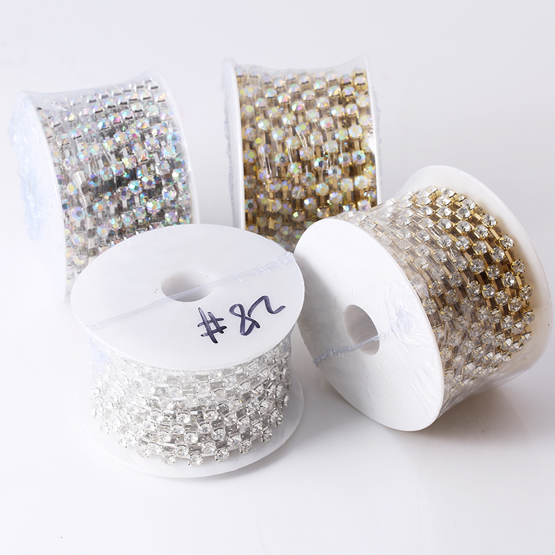 Image 5 - RESEN SS28 6mm 10yards/lot Crystal AB Rhinestone Chain Trim 28ss Glass Strass Trimming Yard Rhinestone Cup Chain Sliver MetalRhinestones   -