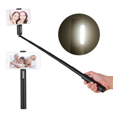 Portable Extendable Wireless BT Selfie Stick Handheld Monopod Control Fill light Phone Holder Compatible with iPhone X Huawei(China)