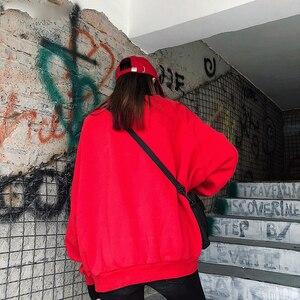 Image 5 - Sudaderas con capucha para mujer, suéter grueso de terciopelo, cálido, de manga larga, cuello alto, holgado, sencillo, para estudiantes, combina con todo, Harajuku, Chic